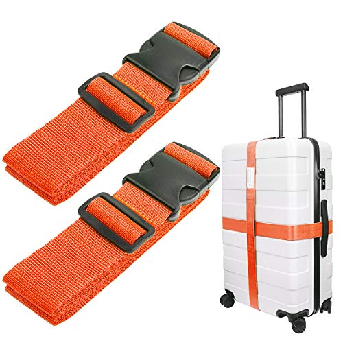 Luxebell Luggage Straps Suitcase Belt Travel Accessories, 1.96 in W x 6.56 ft L, 2-Pack (6.56ft, Orange)