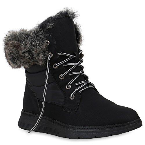 Stiefelparadies Damen Sneaker High Warm Gefütterte Sneakers Winter Schuhe Profilsohle Winterschuhe Schnürer Wildleder-Optik Turnschuhe Flandell Schwarz Black Avion