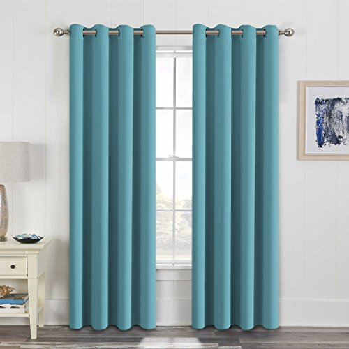 H.VERSAILTEX Thermal Insulated Blackout Drapes Soft and Smooth Microfiber Formaldehyde-free Curtains For Nursery,Grommet Window Panels,52 by 84 - Inch - Aqua - Set of 2 Aqua Curtain
