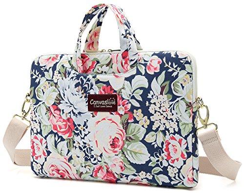 Canvaslove New Rose Pattern Waterproof Canvas laptop shoulder messenger bag sleeve case (14 inch-15.6 inch & Macbook Pro 15)