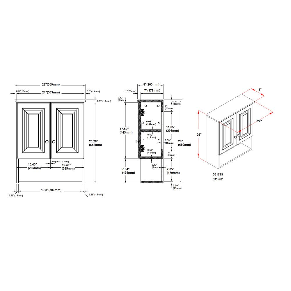 Design House 531715 Wyndham White Semi Gloss Bathroom 0 59 Counter Circuit Diagram Wall Cabinet With 2 Doors And 1 Shelf 22 Inches Wide By 26 Tall 8 Deep