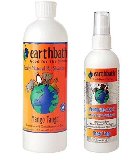 Earthbath Natural Dog Mango Tango Grooming Bundle - (1) Each: Shampoo and Conditioner (16 ounces) and Deoderizing Spritz (8 Ounces) (Mango Tango Oatmeal)