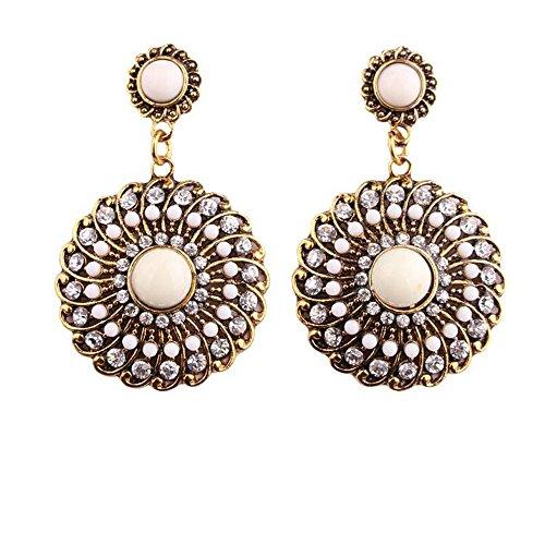 [Darkey Wang Woman Fashion Jewelry Bohemian Colored Circle Earrings(White)] (Period Costumes 1830)