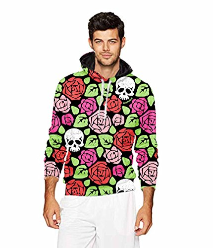 Men's 2018 Fashion Athletic Sweatshirts roses sugar skull Pr