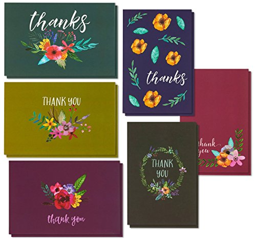 Thank You Cards - 48-Count Thank You Notes, Bulk Thank You Cards Set - Blank on the Inside, 6 Jewel Toned Watercolor Flower Floral Designs - Includes Thank You Cards and Envelopes, 4 x 6 Inches