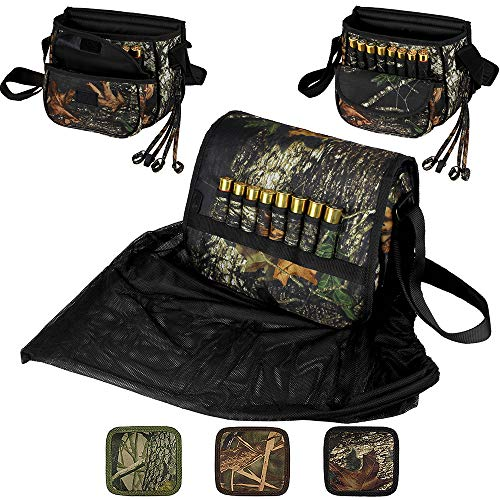BronzeDog Waterproof Shell Pouch Nylon Duck Hunting Bag Ammo Shoulder 12 16 Gauge Cartridge Holder Hunting Accessories (Black Oak Camo)