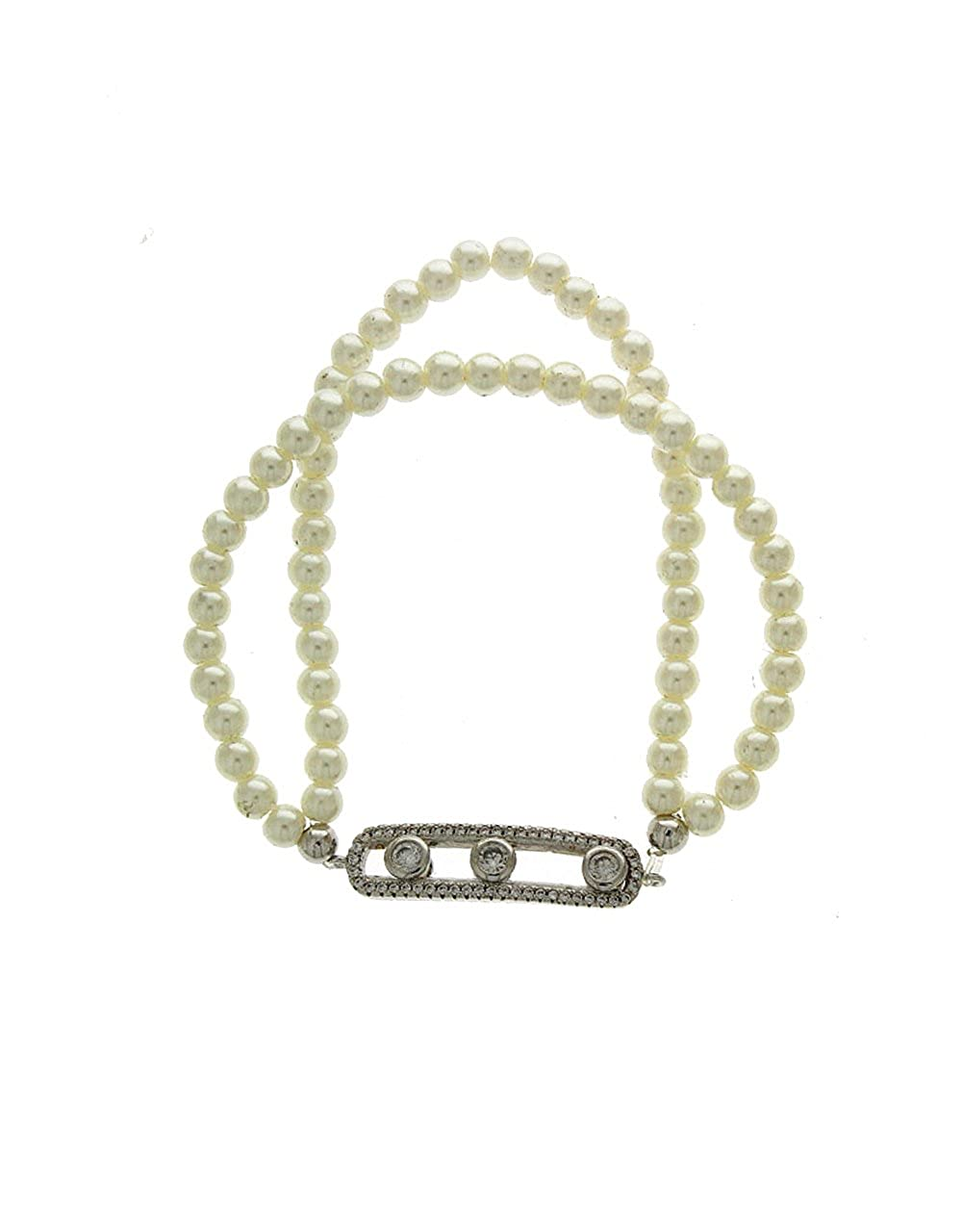 Anuradha Art Silver Finish Pearl Beads Classy Looking Hand Bracelet//Kada for Women//Girls