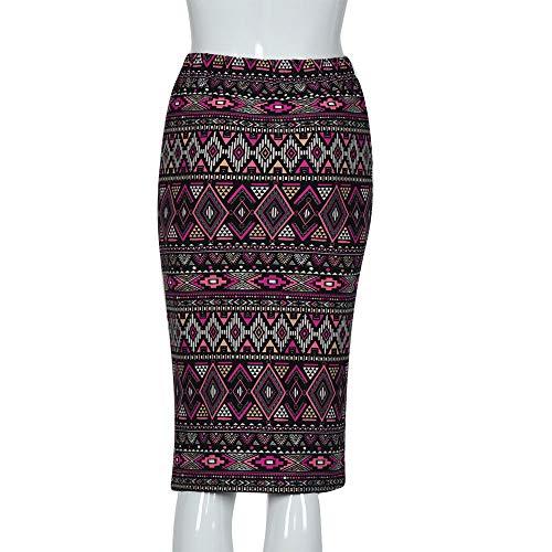 f8bd4a07a6 Pencil Skirt for Women Slim Fit Elastic High Waist Printing Knee-Length  Midi Skirt (
