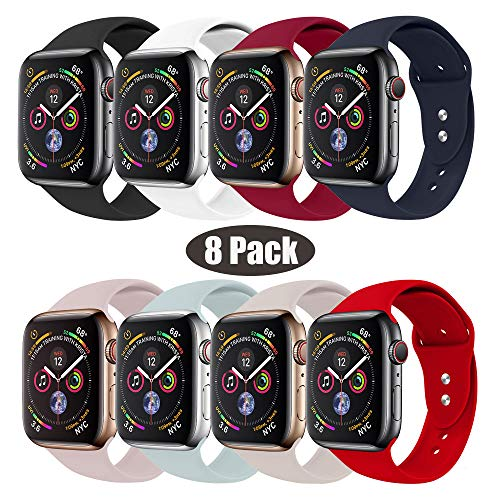 RUOQINI Compatible with Apple Watch Band 38mm 42mm 40mm 44mm,Sport Silicone Soft Replacement Band Compatible for Apple Watch Series 4/3/2/1