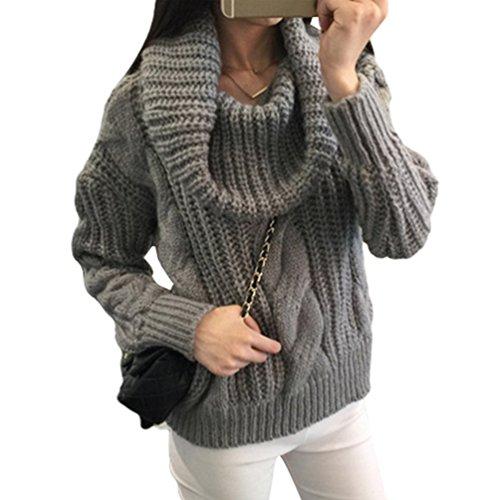 lunga Maglioni Donna Maglieria Cropped Grigio Chunky Cable Collo Pullover maglia Baggy Manica a Maglione alto Tops LvRao dqXBtwHH