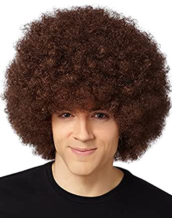 Bliss Pro's Brown Afro Wig Halloween Costume Party Wig 70's Retro Disco Fro Curly