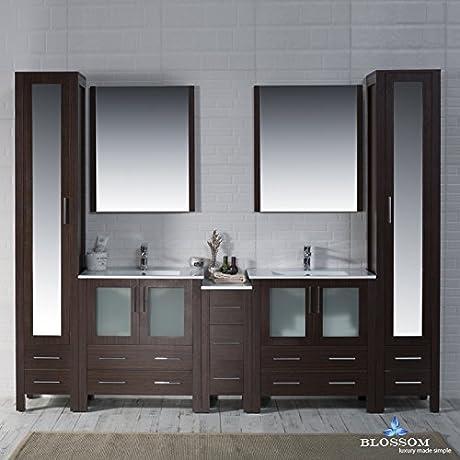 BLOSSOM 001 102 03 MLC Sydney 102 Vanity Set With Mirror Linen Cabinet Wenge
