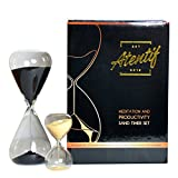 Atentif Hourglass Clock Timers—25 and 5 Minute—Black and Gold Sand—Productivity, Time Management, and Meditation Set—Pomodoro Technique—Office Zen