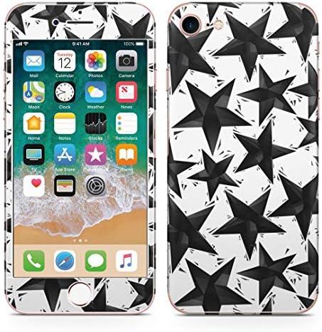 igsticker iPhone SE 2020 iPhone8 iPhone7 専用 スキンシール 全面スキンシール フル 背面 側面 正面 液晶 ステッカー 保護シール 010512 星 白 黒
