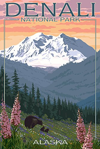 Denali National Park, Alaska - Bear and Cubs with Flowers (9x12 Art Print, Wall Decor Travel Poster)
