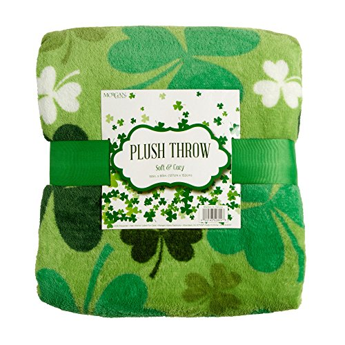 [Morgan Home St. Patrick's Day Shamrock Clover Soft & Cozy Plush Throw Blanket, 50-inch X 60-inch] (St Patricks Day Shamrocks)