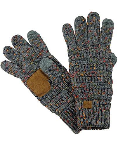 C C Unisex Cable Knit Winter Warm Anti Slip Touchscreen Texting Gloves  Confetti Dark Melange Gray