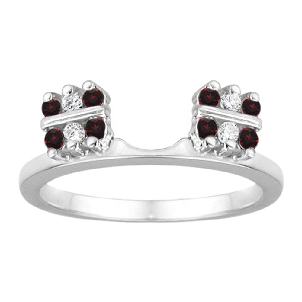 Diamond and Created Ruby Ring Wrap Enhancer set in Sterling Silver (0.32 ct. twt)