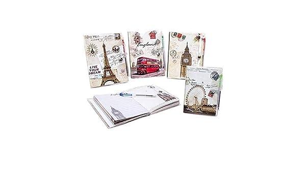 DISOK Pack de 20 Libretas Postales y Bolígrafo, PVC ...