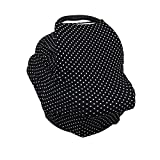 Tommy & Dommy Multipurpose Nursing Cover & Car Seat Canopy | Elastic, Breathable, Comfy & Soft Cotton | Use As Shopping Cart & Stroller Cover, Blanket, Playing Mat & More | Complimentary Bandana Bib (Black)