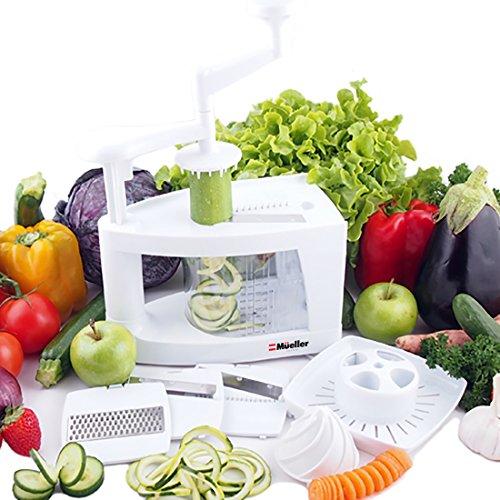 Müeller Spiral-Ultra 4-Blade Spiralizer, 8 in 1 Spiral Slicer, Heavy Duty Vegetable Pasta Maker and Mandoline Slicer for Low Carb/Paleo/Gluten-Free Meals