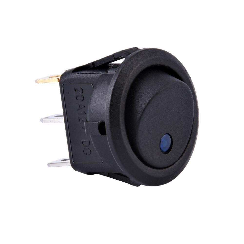 para coche cami/ón salpicadero Interruptor basculante redondo LED con interruptor basculante 12 V furgoneta redondo luz azul barco