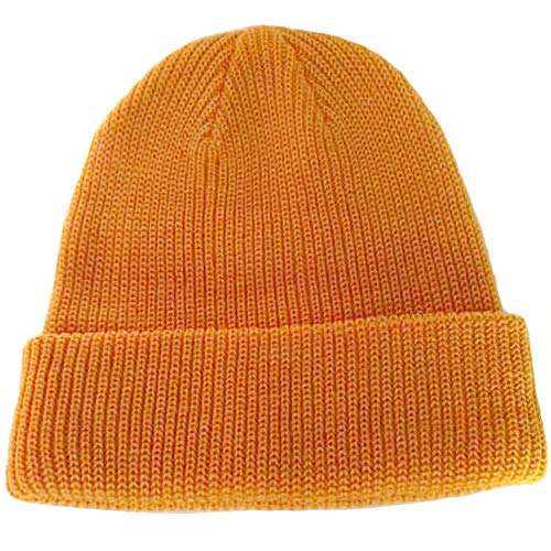 Paladoo Warm Knit Cuff Beanie Cap Daily Beanie Hat for Men (Gold Yellow) (Gold Knit Beanie)