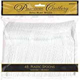 Reusable Party Premium Heavy Weight Plastic Spoons Cutlery, Frosty White, Pack of 48