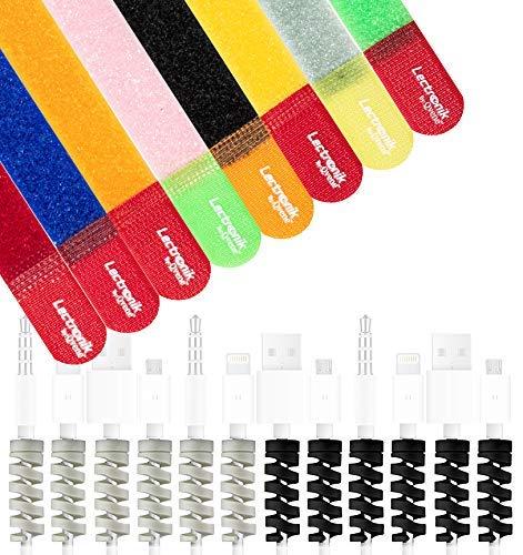 LECTRONIK Organizador y Protector de Cables - Paquete de 8 Tiras Sujeta Cables Reutilizables y 12 Protege Cables de Silicón...
