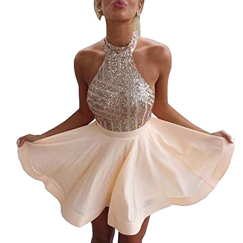 (DYS Women's Short Halter Prom Party Dress Backless Homecoming Dress for Juniors Rose Gold US 2)