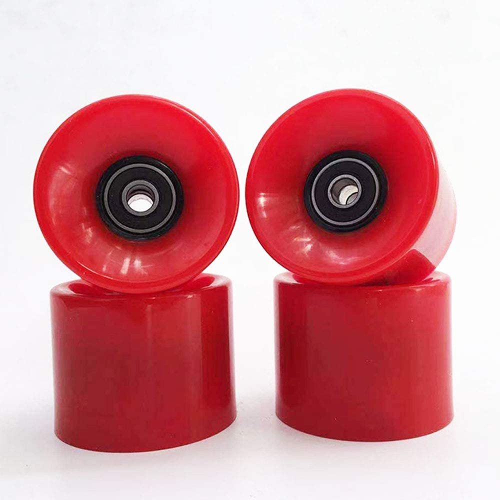 Pack of 4 ABEC-9 Bearing Steel and Spacers Cruiser Wheels,red YTKD 70mm Skateboard Wheels 80a