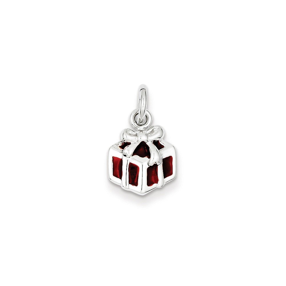 Jewelry Stores Network Enameled Gift Box Charm in 925 Sterling Silver 16x10mm