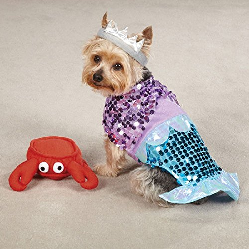 [Defonia Casual Canine GLIM MERMAID Dog Pet Halloween Costume] (Large Dog Spider Halloween Costume)