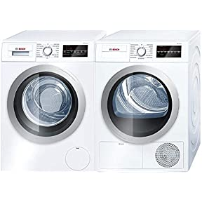 Bosch 500 Series White Front Load Compact Laundry Pair with WAT28401UC 24' Washer and WTG86401UC 24' Electric Condensation Dryer