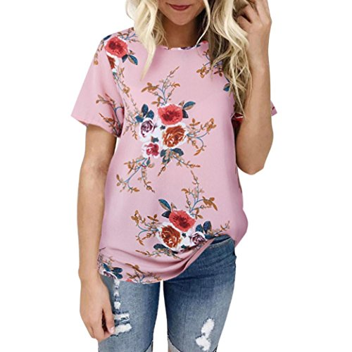 Teresamoon Clearance Sale Women Floral Printing T-Shirt Short Sleeve Tops Blouse (Pink, XL)