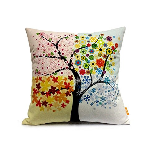 OJIA 18 X 18 Inch Cotton Home Decorative Throw Pillow Cover