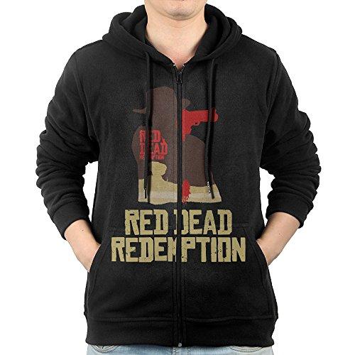 GHGH Men's Red Dead Redemption Zip-Up Hoodies Jackets Black Size XL