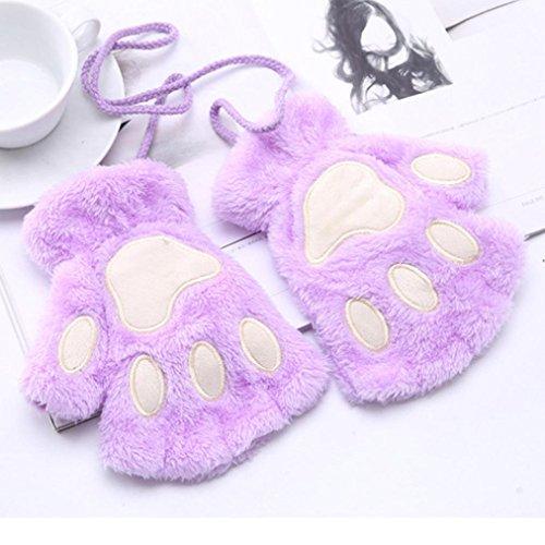 Girls Mittens, Palarn Cat Claw Paw Fingerless Gloves Plush Half Finger Gloves