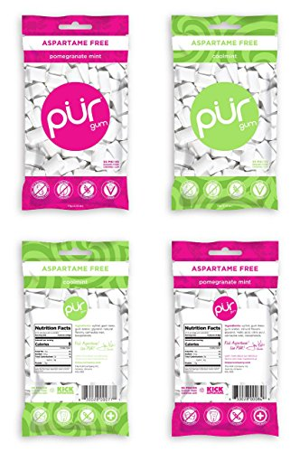 (PUR Gum Flavor Assortment Variety Pack (Pomegranate Mint & Coolmint, Pack Of 4))