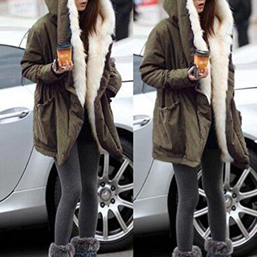 Chaqueta Outwear las abrigo de sintética gruesa Verde piel de con de invierno parka capucha de Ejercito Internet mujeres lana de de Chaqueta qCgEqndH