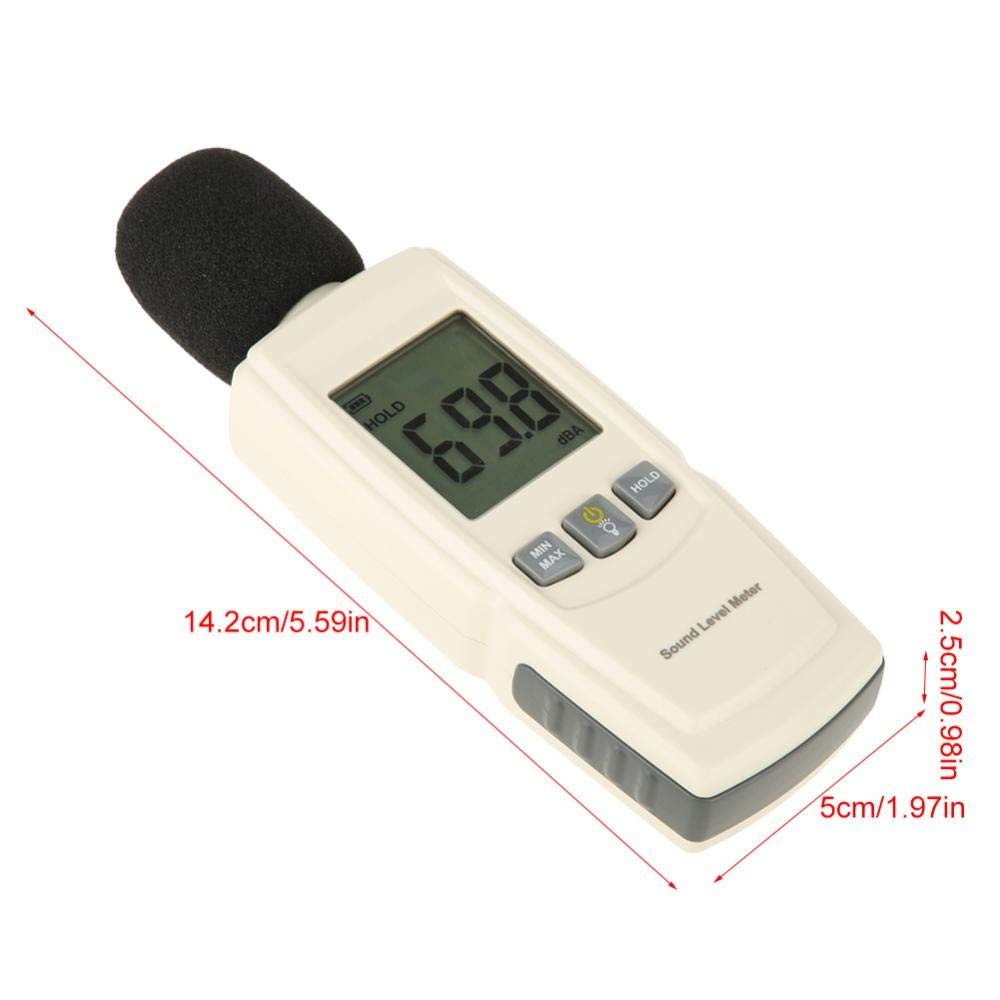 Noise Decibel Meter tragbares digitales LCD-Schallpegelmessger/ät Noise Tester Range von 30 dB bis 130 dB Dezibel f/ür ger/äuschempfindliche Umgebungen