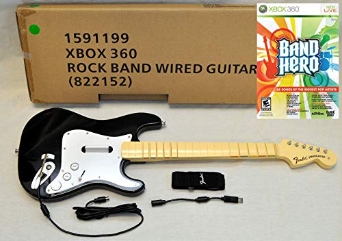 - OEM Rock Band 1 XBox 360 Wired Fender Guitar + NEW Guitar Hero BAND HERO Game Bundle