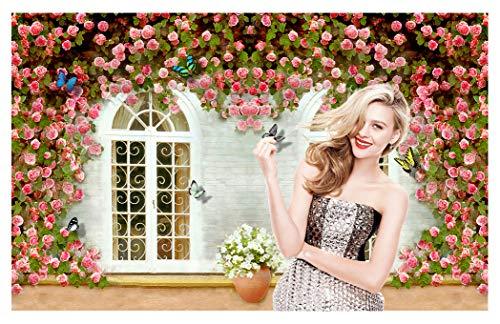 BlueVivi 7x5 ft Vintage Romantic Wedding Photo Backdrops Spring Floral Background Wood Window Flowers Photo Studio Shoot Picture BV005