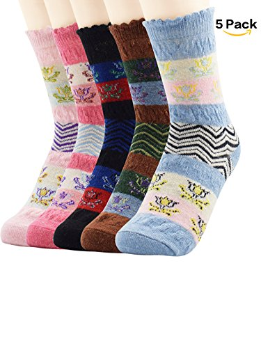 Zando Thin Breathable Casual Crew Warm Soft Cabin Socks for Women Teens Winter Autumn Knitting Printed Wool Sock 3-5 Pack 5 Pack Flower One (Funny Famous Couples Costumes)