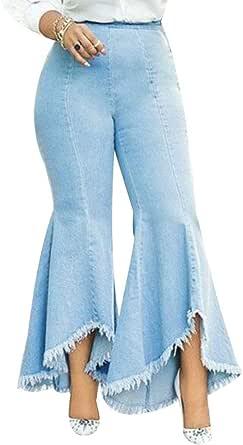 EVEDESIGN Women's Elastic High Waisted Skinny Jeans Fashion Flowy Ruffle Hem Jeggings