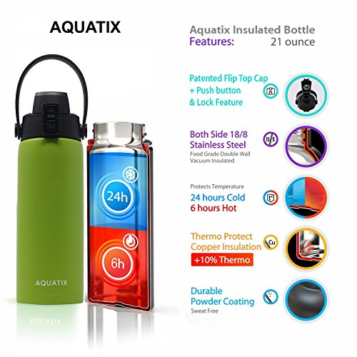 New Aquatix (Lime Green, 21 Ounce) Pure Stainless Steel Double Wall Vacuum Insulated Sports Water Bottle Convenient Flip Top Cap with Removable Strap Handle - Keeps Drinks Cold 24 hr/Hot 6 hr