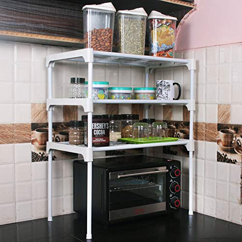 Ebee 3 Shelves Kitchen Cabinet - White