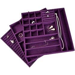 Ikee Design® 3 PCS Set Stackable Jewelry Trays (Purple)
