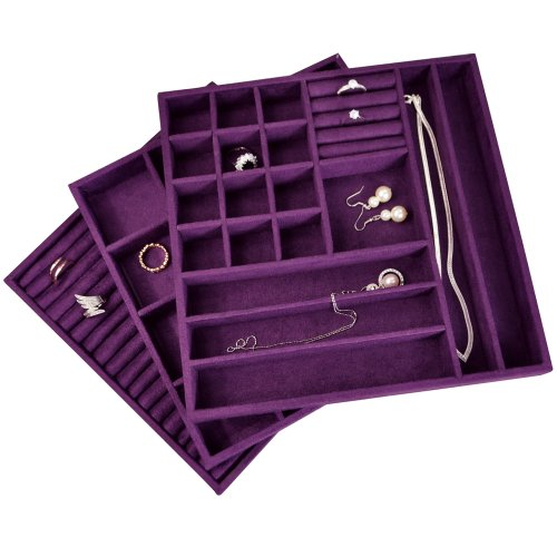 Velvet 3 PCS Set Stackable Jewelry Trays