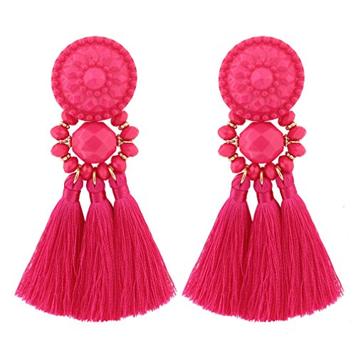 Boderier Bohemian Statement Thread Tassel Chandelier Drop Dangle Earrings with Cassandra Button Stud (Watermelon Red)